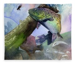 Trout And Fly Fleece Blanket
