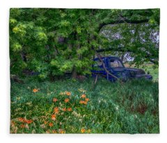 Truck In The Forest Fleece Blanket
