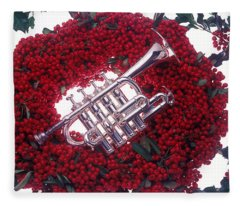 Trumpet On Red Berry Wreath Fleece Blanket