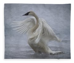 Trumpeter Swan - Misty Display Fleece Blanket