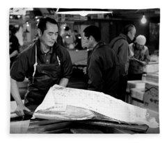 Tsukiji Tokyo Fish Market Fleece Blanket