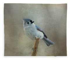 Tufted Titmouse Watching Fleece Blanket