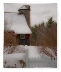 Tuftonboro Farm In Snow Fleece Blanket