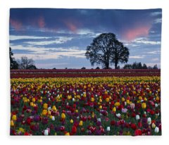 Tulip Field's Last Colors Fleece Blanket