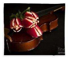 Tulips And Violin Fleece Blanket