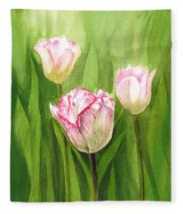 Tulips In The Fog Fleece Blanket