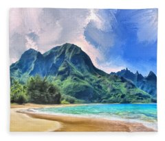 Tunnels Beach Kauai Fleece Blanket