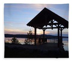 Tupper Lake Sunset Over Raquette Pond Fleece Blanket