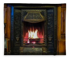 Turf Fire In Irish Cottage Fleece Blanket