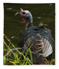 Turkey At Lake Fleece Blanket