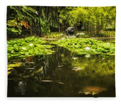 Turtle In A Lily Pond Fleece Blanket
