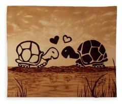 Turtles Love Coffee Painting Fleece Blanket