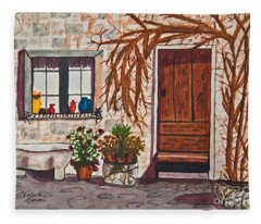Tuscan Portal Watercolor Art Prints Fleece Blanket