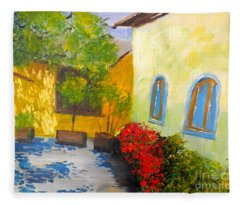 Tuscany Courtyard 2 Fleece Blanket
