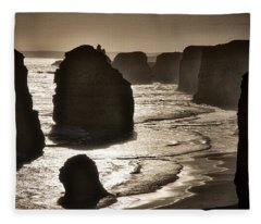 Twelve Apostles #3 - Black And White Fleece Blanket