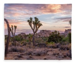 Twilight Comes To Joshua Tree Fleece Blanket