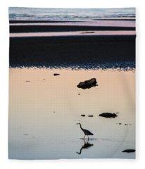 Twilight Heron Fleece Blanket