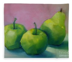 Two Apples And One Pear Fleece Blanket