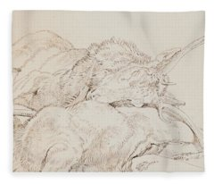 Two Dead Stags Fleece Blanket