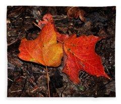 Two Fallen Autumn Leaves Fleece Blanket