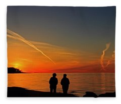 Two Friends Enjoying A Sunset Fleece Blanket