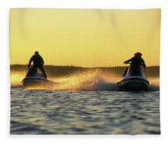 Two Jet Skis In Open Water At Sunset Fleece Blanket