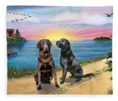 Two Labs At The Lake Fleece Blanket
