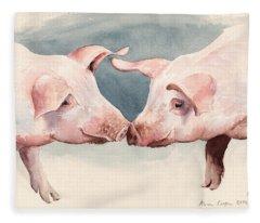 Two Little Piggies Fleece Blanket