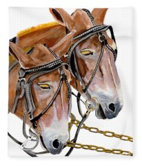 Two Mules - Enhanced Color - Farmer's Friend Fleece Blanket