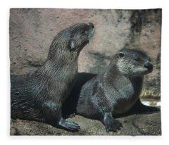 Two Otters Fleece Blanket