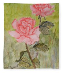 Two Pink Roses Fleece Blanket
