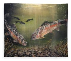 Two Rainbow Trout Fleece Blanket