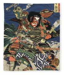 Two Samurai Fighting C. 1819 Fleece Blanket