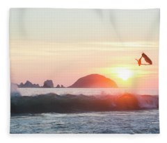 Two Stand Up Jet Skis Performing Aerial Fleece Blanket