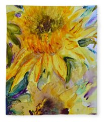Two Sunflowers Fleece Blanket