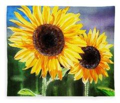 Two Suns Sunflowers Fleece Blanket