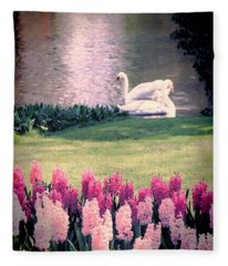 Two Swans Fleece Blanket