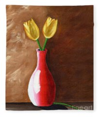 Two Tulips And A Pink Rose Fleece Blanket