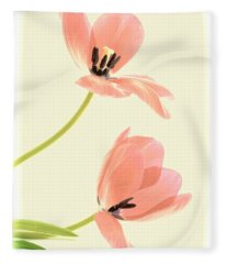 Two Tulips In Pink Transparency Fleece Blanket