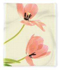 Two Tulips In Pink Transparency Fleece Blanket