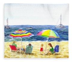 Two Umbrellas On The Beach California  Fleece Blanket