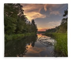 Fleece Blanket featuring the photograph Tyler State Park Lake At Sunset by Todd Aaron