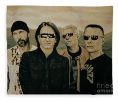 U2 Silver And Gold Fleece Blanket