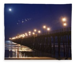Ufo's Over Oceanside Pier Fleece Blanket