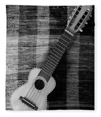 Ukulele Still Life In Black And White Fleece Blanket