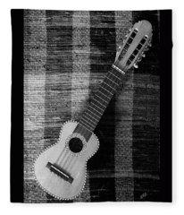 Ukulele Still Life In Black And White Fleece Blanket
