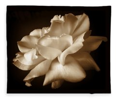 Umber Rose Floral Petals Fleece Blanket