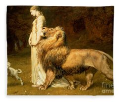 Una And Lion From Spensers Faerie Queene Fleece Blanket