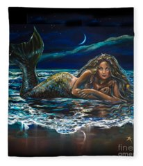 Under A Crescent Moon Mermaid Pillow Fleece Blanket