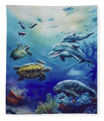 Under Water Antics Fleece Blanket